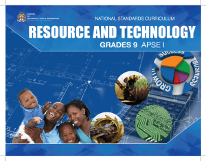 Grade 9 – Resource and Technology – APSE 1